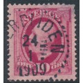 SWEDEN - 1891 10öre carmine Oscar II, used – HJERPLIDEN 24 I 1909 stämpel (S-län)