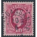 SWEDEN - 1891 10öre carmine Oscar II, used – LÅNGBANSÄNDE 10 VI 1910 stämpel (S-län)