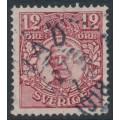 SWEDEN - 1918 12öre carmine Gustav V i medaljong, used – VAD 27 VII 1918 stämpel (W-län)