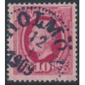 SWEDEN - 1891 10öre carmine Oscar II, used – HOLMÖN 12 III 1909 stämpel (AC-län)