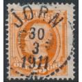 SWEDEN - 1896 25öre orange Oscar II, used – JÖRN 20 III 1911 stämpel (AC-län)