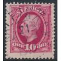 SWEDEN - 1891 10öre carmine Oscar II, used – KALFTRÄSK 21 II 1910 stämpel (AC-län)