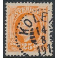 SWEDEN - 1896 25öre orange Oscar II, used – KOLER 14 VIII 1911 stämpel (BD-län)