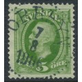 SWEDEN - 1891 5öre green Oscar II, used – ORRBYN 7 VIII 1906 stämpel (BD-län)