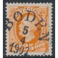 SWEDEN - 1896 25öre orange Oscar II, used – BODEN 5 IV 1907 stämpel (BD-län)