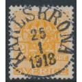 SWEDEN - 1913 2öre yellow-orange Official (Tjänstemärke), lines watermark, used – Facit # TJ41a