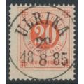 SWEDEN - 1877 20öre orangish red Ring Type, perf. 13, used – ULRIKA 29 VIII 1885 stämpel (E-län)