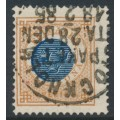SWEDEN - 1878 1Kr dark blue/orange-brown Ring Type, perf. 13, 'starkt förskjutet mittparti', used – Facit # 38ev5