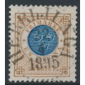 SWEDEN - 1886 1Krona orange-brown/dark blue Ring Type, perf. 13 with posthorn, used – Facit # 49c