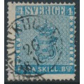 SWEDEN - 1855 4Skilling blue Coat of Arms (dense background), thick paper, used – Facit # 2f