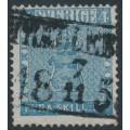 SWEDEN - 1855 4Skilling blue Coat of Arms, used – TRELLEBORG 7 XI 1856 fyrkantstämpel (M-län)