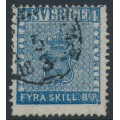 SWEDEN - 1855 4Skilling blue Coat of Arms, medium-thick paper, 'flaw on SE corner', used – Facit # 2m