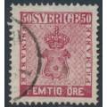 SWEDEN - 1858 50öre bright carmine Coat of Arms, used – Facit # 12d