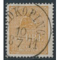 SWEDEN - 1863 3öre yellowish light brown Lying Lion, used – Facit # 14Be