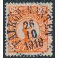 SWEDEN - 1911 25öre red-orange Gustav V in medallion, used – Facit # 86a