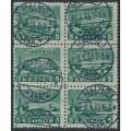 SWEDEN - 1931 5Kr green Stockholm Castle on toned paper, block of 6, used – Facit # 233a