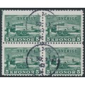 SWEDEN - 1939 5Kr green Stockholm Castle on white paper, block of 4, used – Facit # 233b