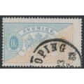 SWEDEN - 1874 1Kr dull blue/yellowish brown Official (Tjänstemärke), perf. 14, used – Facit # TJ10b