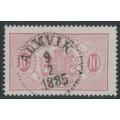 SWEDEN - 1885 10öre dull carmine Official (Tjänstemärke), perf. 13, used – Facit # TJ16Aa