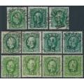 SWEDEN - 1891-1910 5öre green Oscar II, range of shades according to Facit, used – Facit # 52a-52g