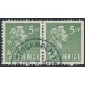 SWEDEN - 1940 5öre green Bellman, perf. 4-sides + 3-sides pair, used – Facit # 324CB