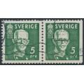 SWEDEN - 1938 5öre greenKing Gustav V, perf. 4-sides + 3-sides pair, used – Facit # 266CB