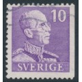 SWEDEN - 1939 10öre violet King Gustav V, small numerals, perf. 3-sides (imperf. at right), used – Facit # 269B