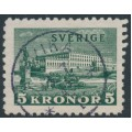 SWEDEN - 1939 5Kr dark green Stockholm Castle on white paper, used – Facit # 233b