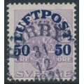 SWEDEN - 1920 50öre on 4öre Coat of Arms airmail overprint, lines watermark, used – Facit # 138cc
