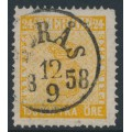 SWEDEN - 1858 24öre orange Coat of Arms, used – Facit # 10a