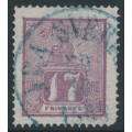 SWEDEN - 1866 17öre reddish lilac Lion, blue Denmark cancel, used – Facit # 15b