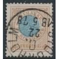 SWEDEN - 1877 1 Riksdaler blue/brown Ring Type, perf. 13, used – Facit # 37
