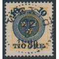 SWEDEN - 1889 10öre dark blue on 24öre orange-yellow Ring Type, perf. 13, used – Facit # 51b