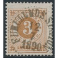 SWEDEN - 1887 3öre yellowish brown Ring Type, perf. 13 with posthorn, used – Facit # 41a