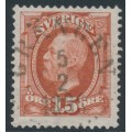 SWEDEN - 1896 15öre light red-brown Oscar II, used – Facit # 55b