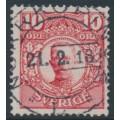 SWEDEN - 1911 10öre carminish red Gustaf V in medallion, used – Facit # 82a