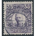 SWEDEN - 1911 35öre bluish violet Gustaf V in medallion, KPV watermark, used – Facit # 89abz