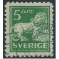 SWEDEN - 1920 5öre green Lion, type I, perf. 9¾ on 4-sides, no watermark, used – Facit # 140Ca