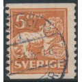 SWEDEN - 1921 5öre brown-red Lion, type I, perf. 9¾ on 2-sides, KPV watermark, used – Facit # 141Abz