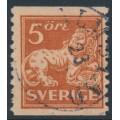 SWEDEN - 1921 5öre brown-red Lion, type II, perf. 9¾ on 2-sides, KPV watermark, used – Facit # 142Abz