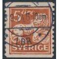 SWEDEN - 1921 5öre brown-red Lion, type II, perf. 9¾ on 2-sides, '\' watermark, used – Facit # 142Acc