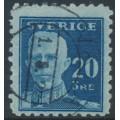 SWEDEN - 1920 20öre blue King Gustav V, perf. 9¾ four sides, KPV watermark, used – Facit # 151Cbz