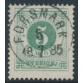 SWEDEN - 1877 5öre green Ring Type, perf. 13, used – Facit # 30i