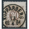 SWEDEN - 1877 30öre dull brown (thick numerals) Ring Type, perf. 13, used – Facit # 35f
