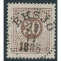 SWEDEN - 1877 30öre brown Ring Type, perf. 13, used – Facit # 35i