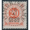 SWEDEN - 1886 20öre orange-red Ring Type, perf. 13 with posthorn, used – Facit # 46c