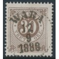 SWEDEN - 1886 30öre brown Ring Type, perf. 13 with posthorn, used – Facit # 47c