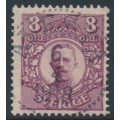 SWEDEN - 1912 8öre reddish violet Gustaf V in medallion, used – Facit # 81c
