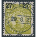 SWEDEN - 1918 27öre on 65öre green-yellow Gustaf V in medallion, used – Facit # 103a