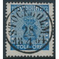 SWEDEN - 1858 12öre blue Coat of Arms, used – Facit # 9c2